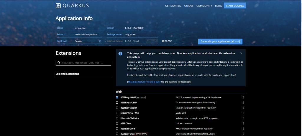 Quarkus - generowanie aplikacji