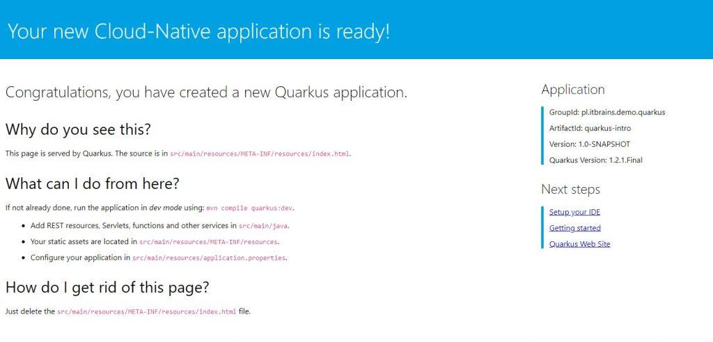 Domyślna strona główna aplikacji w Quarkus